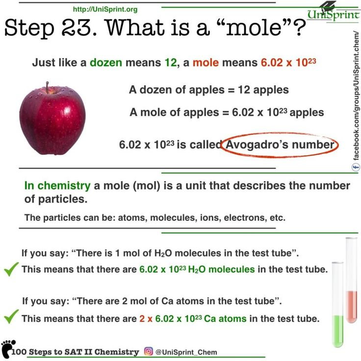 """100 Steps to SAT II chemistry from UniSprint. Step 23: What is a """"mole""""?  #chemistry #mole #stoichiometry #mol"""