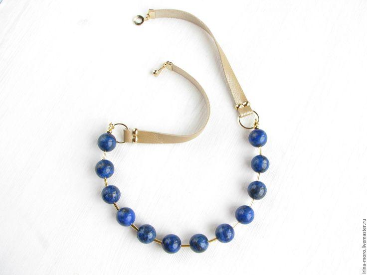 """Купить Бусы """"Синий горошек"""" позолоченные из лазурита на кожаных шнурах - купить бусы из лазурита. Beads """"Blue polka dots"""".Gold plated necklace made of lapis lazuli on leather cords. #necklace #jewelry #etsy #brown #handmade #lapis #blue #gold #leathernecklace #lazuritenecklace #lazurite #businesscasual #delicatenecklace #statementnecklace #girl #fashion #колье #синиеколье #лазурит #кольеизлазурита #кожаноеколье"""