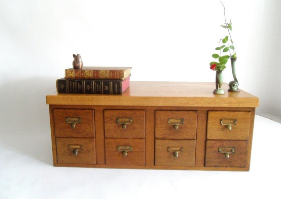 Antique Solid Oak Card Catalogue 8 Drawers by owlsongvintage, $850.00