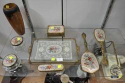 VANITY SET - Delicately Embroidered Set plus Pokerwork Vase