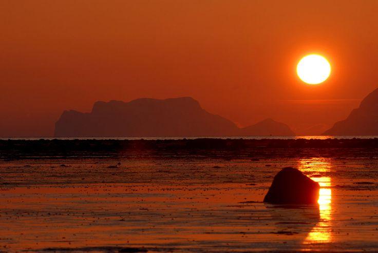 sun setting near Tromso Norway