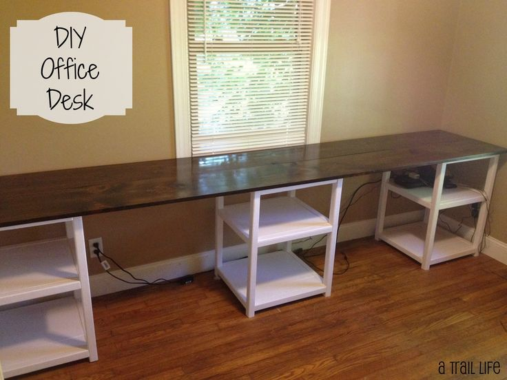 DIY 12Foot Long Double Desk Family RoomPlay Room Pinterest