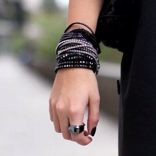 Italian style icon Veronica Ferraro absolutely rocks our Slake bracelet and Nirvana ring. #banglemania Photo courtesy of www.thefashionfruit.com. Find your Swarovski Slake Bracelet here http://www.swarovski.com/en/1179325/product/Slake_Black_Jet_Hematite_Bracelet.html