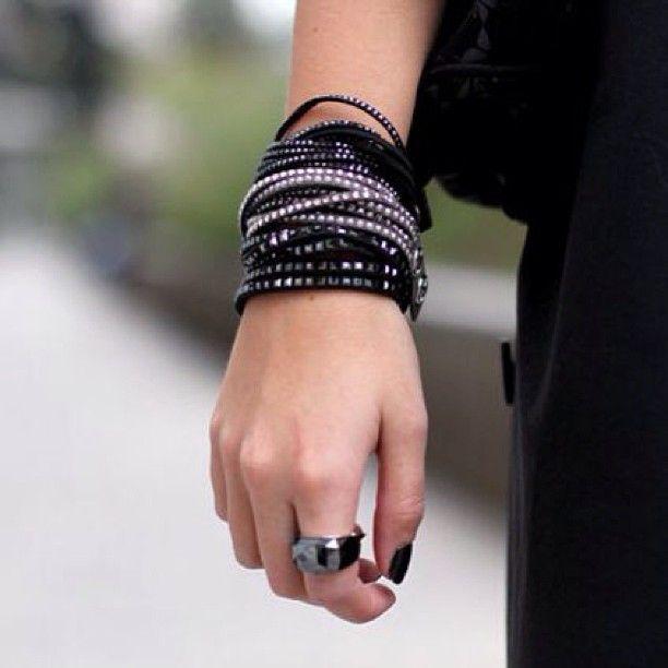 Italian style icon Veronica Ferraro absolutely rocks our Slake bracelet and Nirvana ring. #banglemania Photo courtesy of www.thefashionfruit.com. Find your Swarovski Slake Bracelet here http://www.swarovski.com/en/1179325/product/Slake_Black_Jet_Hematite_Bracelet.html