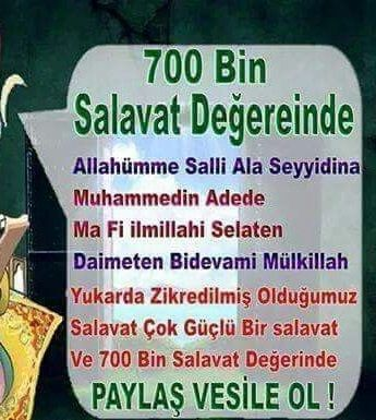 700 bin salavat degerinde dua