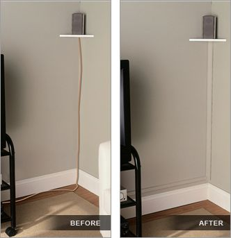 use trim painted the same color as your walls to hide electrical wires (no helpful link here - just the photo idea)