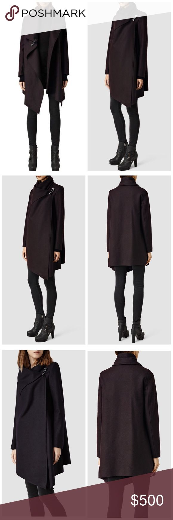 🆕⬇️AllSaints Oxblood City Monument Coat •NWT. Color: Oxblood. Crafted from warm Italian wool blend, the City Monument Coat is one of AS bestsellers, loved for its distinctive asymmetric shape. The metal hook/eye closure at the shoulder creates a warm funnel neck and natural drape across the body •Funnel neck, Raw edge finish, Asymmetric •Metal hook/eye closure w/AS logo engraving  •80% wool, 20% polyamide. Dry Clean Only •Midweight, Fully lined for warmth and comfort •Regular fit, Model is…