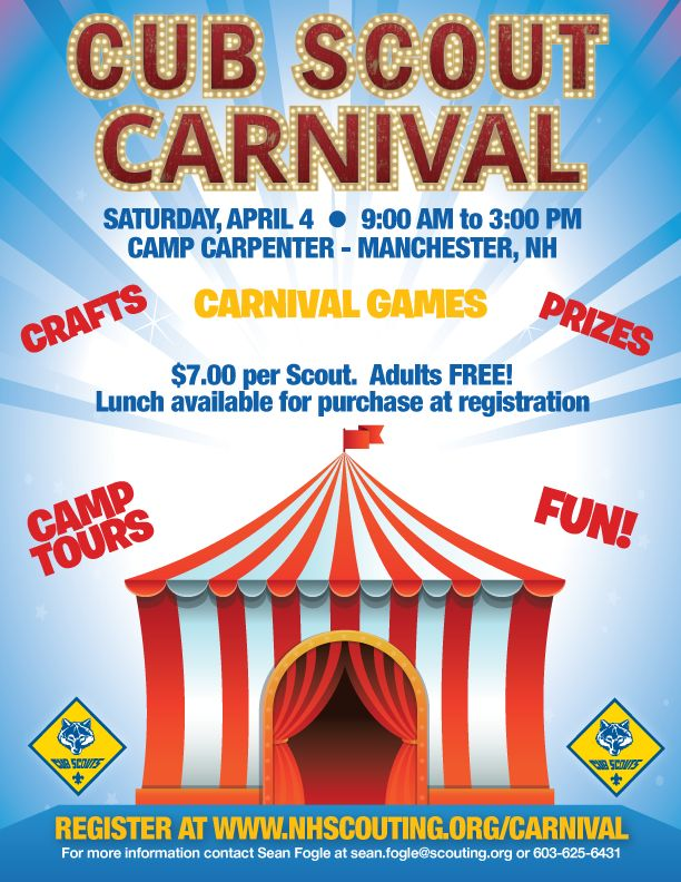 cub scout carnival ideas - to give the cubs an idea for advertisment.