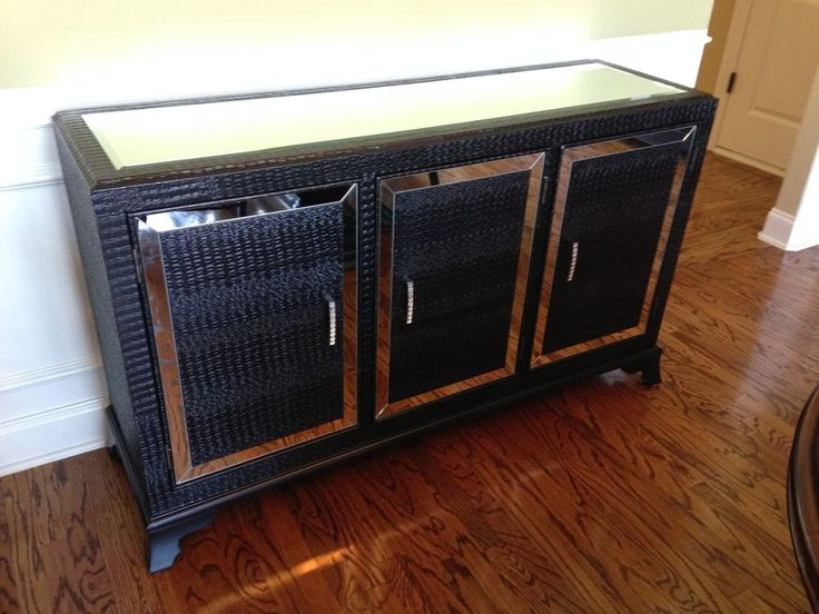 Hollywood Regency Mirrored Console Cabinet Dresser Table BLACK Bedroom Furniture #Powell #Modern