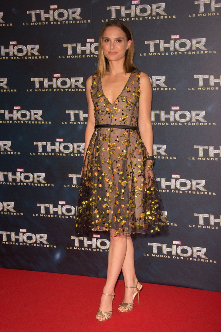 Pin for Later: Over 60 of Natalie Portman's Best Red Carpet Looks Ever Natalie Portman in Floral Christian Dior at the 2013 Thor: The Dark World Paris Premiere Natalie Portman blossomed in a Summer-ready sequin blossom appliqué Dior dress while promoting Thor: The Dark World in Paris.