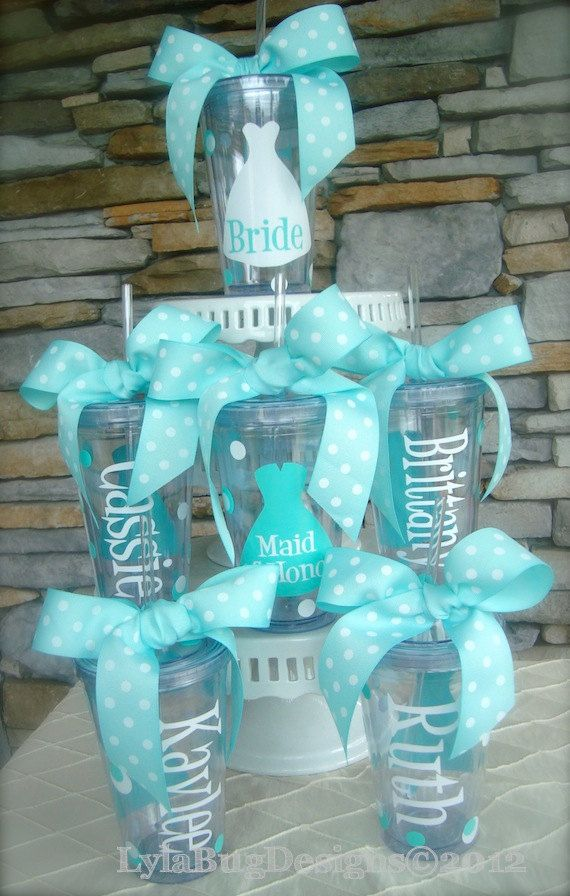 So you don't spill your drinks when getting ready. Would be cute in a bridesmaid gift basket.