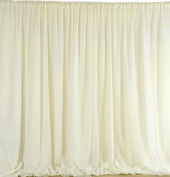 10 Feet X 10 Feet Ivory Sheer Voile Backdrop Multi Size Wedding Ceremony Party Decorations Sheer Organza Curtain Panel Backdrops Bd005 Backdrops Panel Curtains Curtains