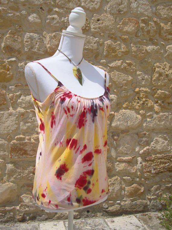 Top donna Tie Dye  100% cotone rainbow shibori tinta con