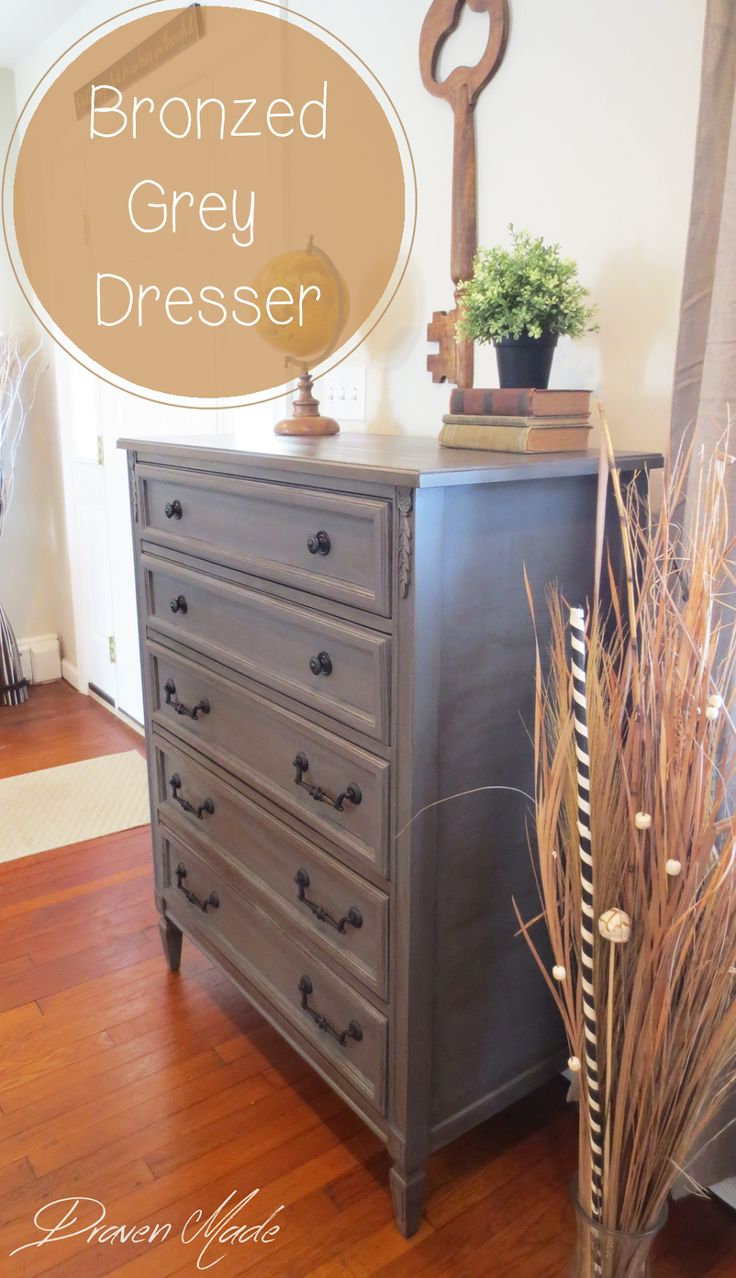 Draven Made: Bronzed Grey Dresser using #milkpaint #generalfinishes
