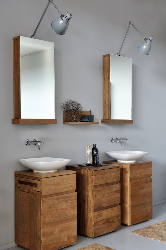 Square koupelnový nábytek z masivního dřeva / bathroom furniture