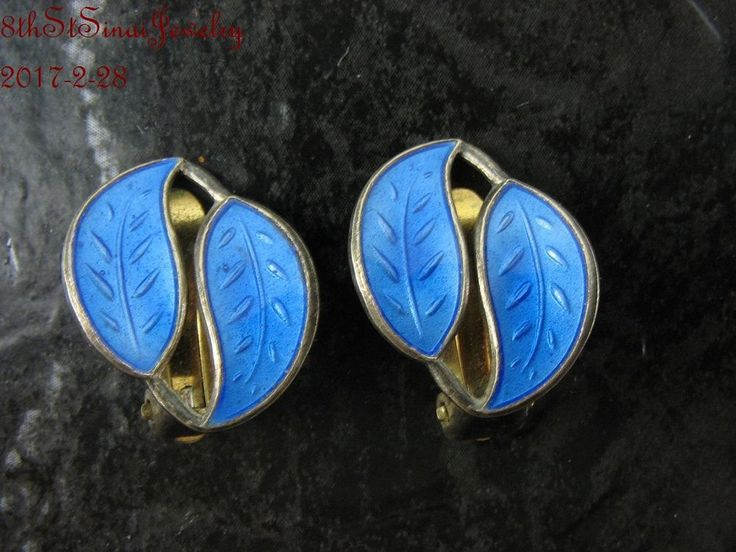 Willy Winnaess David Andersen Norway Sterling Silver 925S Enamel Clip Earrings #WillyWinnaessDavidAndersen