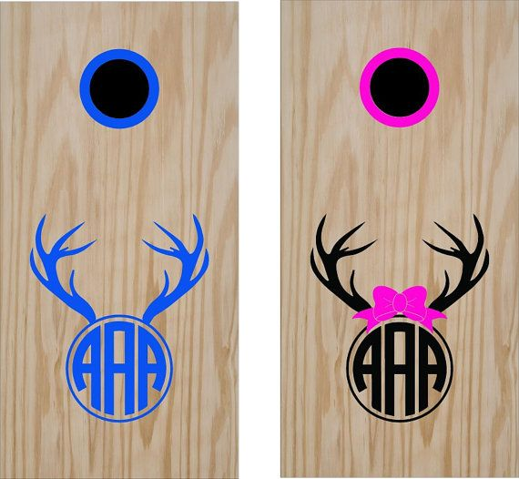 Wedding Monogram Initials His and Hers Anniversary Cornhole Board Decals Stickers Bean Bag Toss With Rings- Anniversary Gift