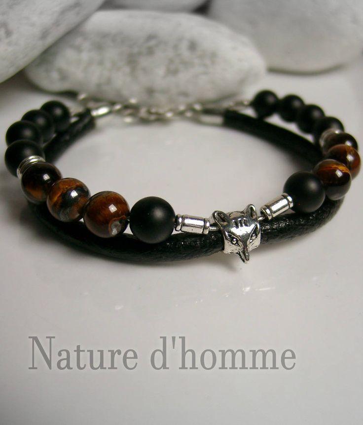 Bracelet cuir onyx mat œil de tigre et renard argenté Réf:
