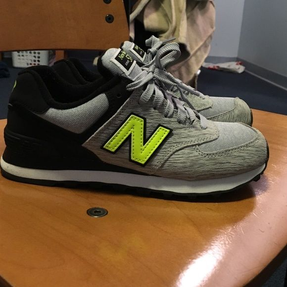 Grey new balance sneakers Grey and lime green detailed new balances. Never worn :( New Balance Shoes Sneakers