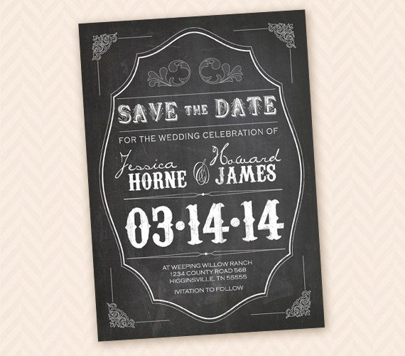 Rustic Chalkboard Save the Date Design (good for card, postcard or magnet). $12,00, via Etsy.