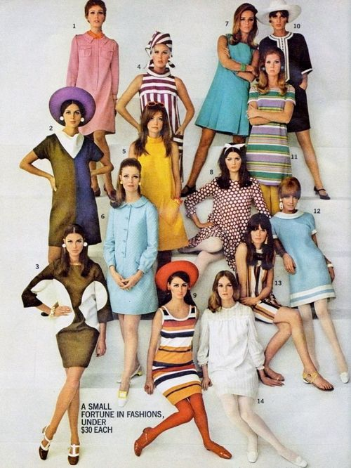 Mod fashions in Seventeen, 1967. The year I was married. This is what my wedding trousseau looked like, especially the stripes! No hats on the honeymoon, though.