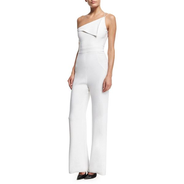 Cushnie et Ochs One-Shoulder Wide-Leg Jumpsuit (£1,240) ❤ liked on Polyvore featuring jumpsuits, white, white fitted top, white jump suit, fitted tops, cushnie et ochs and one shoulder jumpsuit