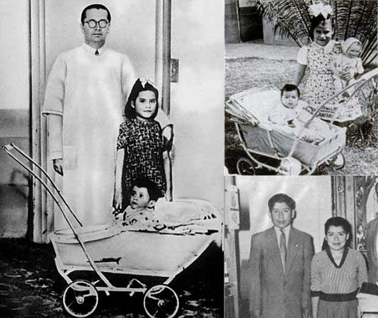 Lina Medina, accompanied by her 11-month-old-son Gerardo, and Doctor Lozada (left), Lina and her grown up son (right - third picture).