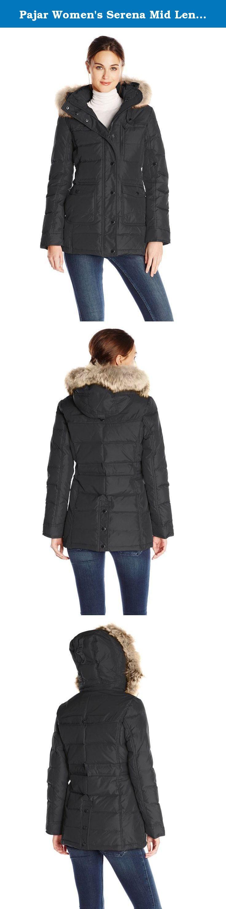 Pajar Women's Serena Mid Length Down Parka with Fur Hood, Black, Large. Ladies mid length jacket.