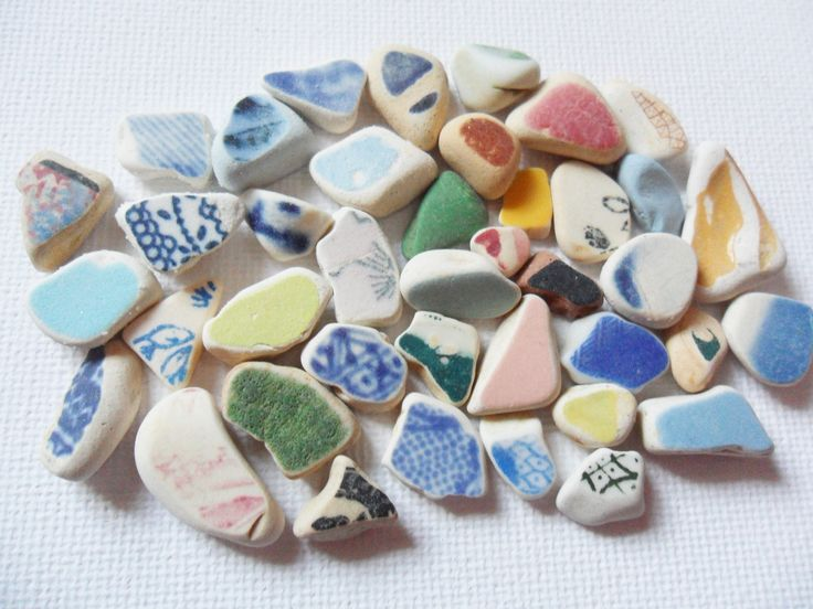 40 tiny English beach pottery shards - rainbow colours by UKSeaGlassStore on Etsy