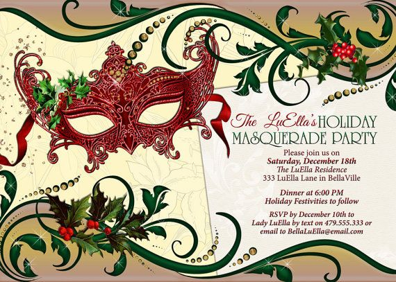 9d1d4f30df47 Holiday Masquerade Party Masquerade Invitation Christmas ...
