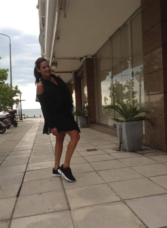 Meet our gorgeous customer, Maria Kefalidou. She is wearing a dress by Stelios Koudounaris and Sneakers by Elena Iachi!
