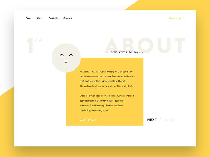 About Section. Personal Website by Olia Gozha