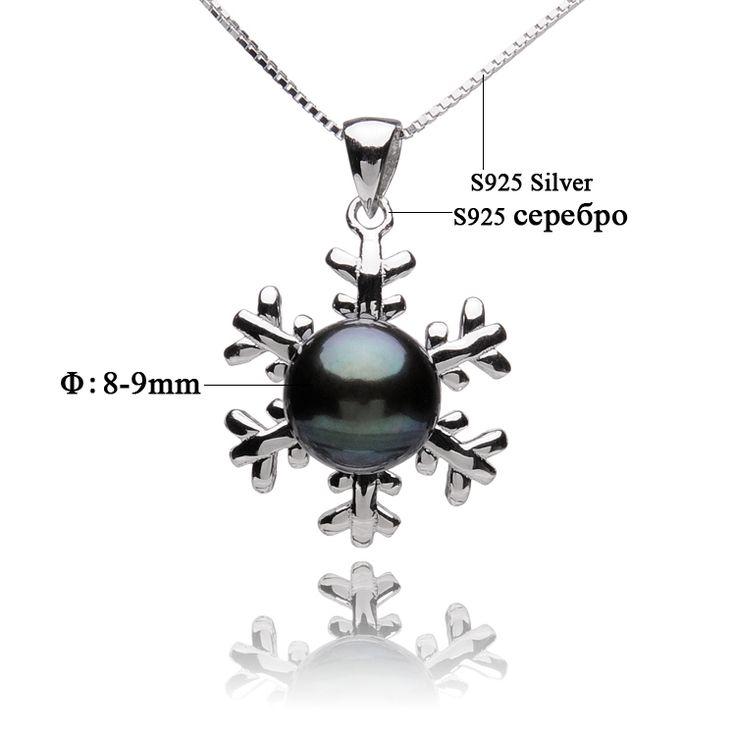 Жемчужная подвеска в виде снежинки, ожерелье для женщин с черным пресноводным жемчугом размером 8-9 мм, серебряная цепочка 925 пробы. Ювелирное изделие с жемчугом от Feige