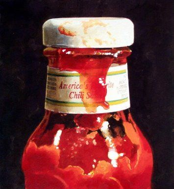 ralph goings, ketchup bottle, chilli sauce, deli, diner, table, photorealism,