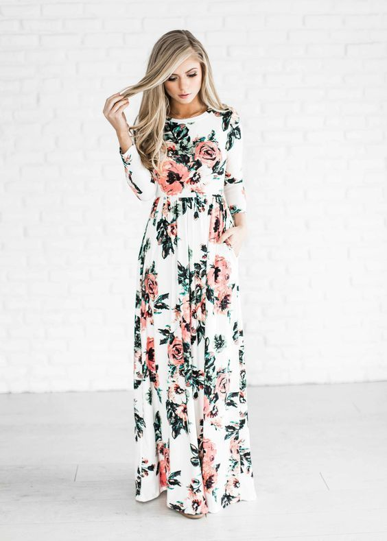 $31.99 Ecstatic Harmony White Floral Print Maxi Dress Pink Flower Long Dress