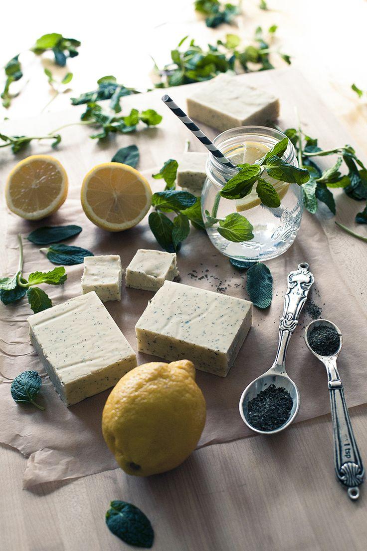 Homemade Lemon Herb Soap w/ basil & mint