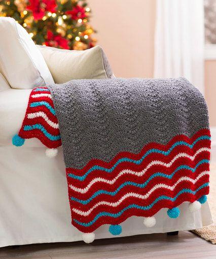 Dashing Holiday Throw By Marianne Forrestal - Free Crochet Pattern - (redheart)