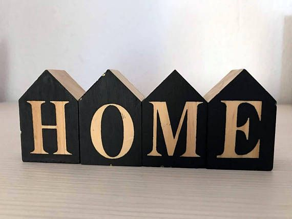 Wooden home-love mini houses/ Home decor black / Wooden sign /