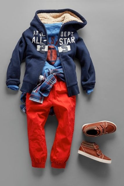 Toddler boys' fashion   Kids' clothes   Back-to-school outfit   Active tee   Sweatshirt   Plaid button-down shirt   Jogger pants   Sneakers   The Children's Place