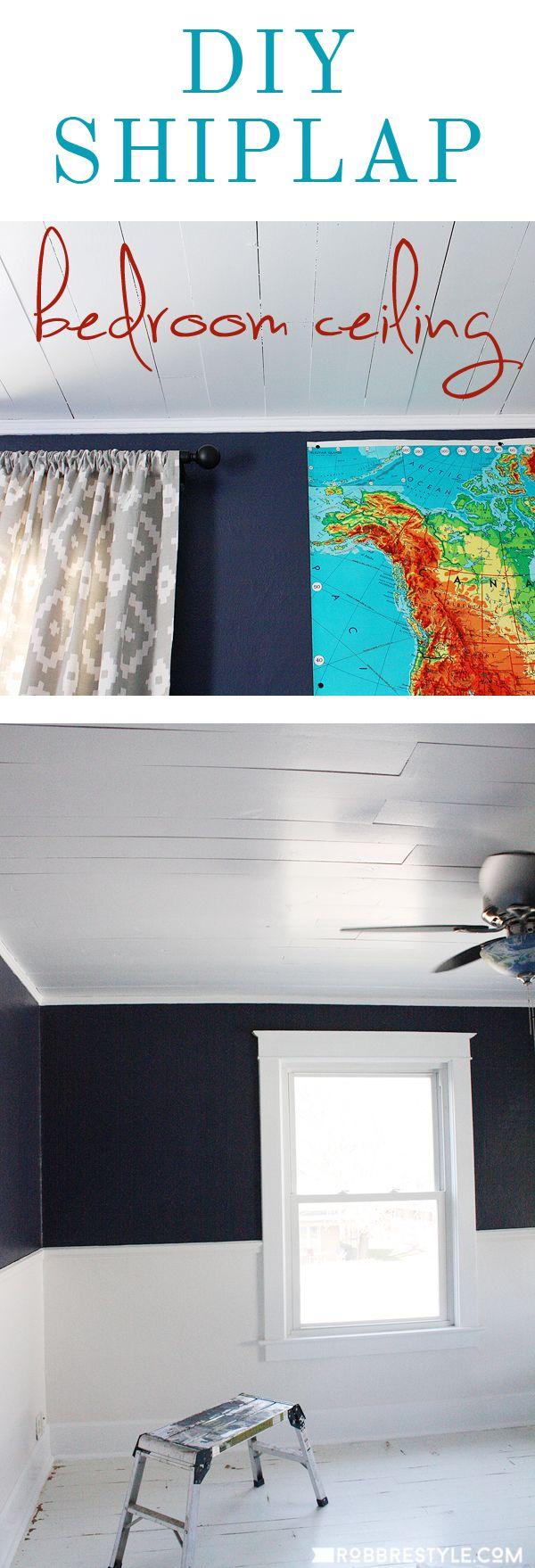 DIY Shiplap Bedroom Ceiling with Ryobi Miter Saw
