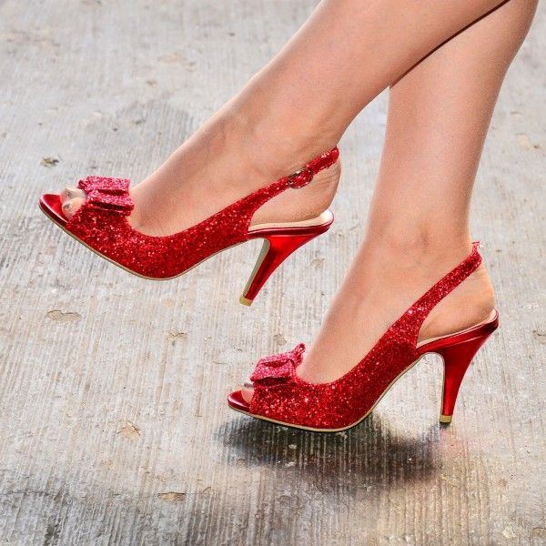 be5acf66cff8a Red Glitter Shoes Bow Slingback Stiletto Heel Sandals in 2019 ...