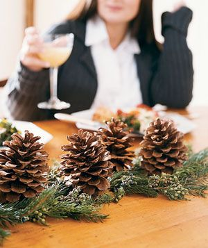 Create your own holiday decor with these easy crafts and projects.    Make an Easy Table Topper  How simple is this centerpiece? Buy a garland of greenery (available at garden centers) to run down the length of your table. Send your kids out to collect pinecones, and use them as rustic toppers. (You can also buy pinecones at garden or craft stores.)