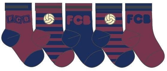 5-Paar sokken van je favoriete voetbalclub FC Barcalona. Het eerste paar sokken is rood met in letters FCB. Het tweede paar sokken is rood met blauwe strepen en heeft een bal op de sok. Het derde paar is blauw met rode strepen met in letter FCB. Het vierde paar sokken is blauw-rood gestreept met een bal. Het laatste paar sokken is rood met blauw en in letters staat er FCB op. De sokken zijn gemaakt van 78% katoen, 20 polyamid en 2% elestaan.   Afmeting: volgt later.. - Baby sokjes barcelona…