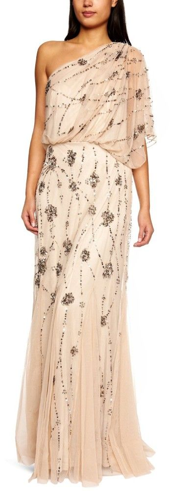 Adrianna Papell Women's One Shoulder Beaded Dress