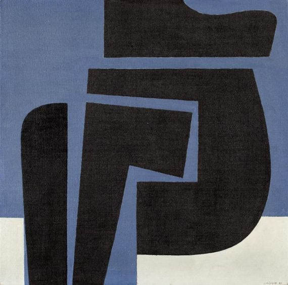 'Positive' (1981) by Greek artist Yiannis Moralis (1916-2009). Acrylic on canvas, 31.5 x 31.5 in. via Mutual Art