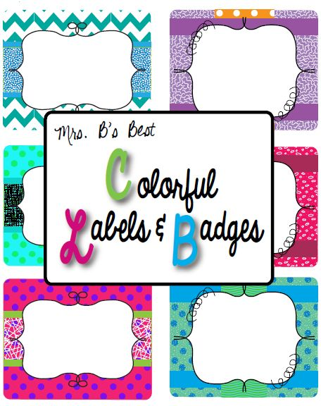 "Fun, colorful labels and/or badges! FREE!....Follow for Free ""too-neat-not-to-keep"" teaching tools & other fun stuff :)"