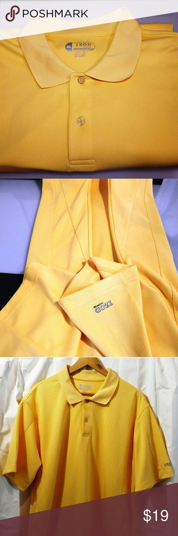 """IZOD Men Cool fx yellow logo on sleeve POLO shirt Up for sale is an IZOD Men's Yellow with Logo on sleeve Golf Polo Shirt Size XXL. The shirt is Pre-Owned and in excellent condition.   Brand: IZOD  Size: XXL  Color: Yellow with Logo on sleeve  Material: 100% Polyester  Sleeves: Short Sleeves  Pockets: NO  Hood: NO  Zipper/Buttons:2 Buttons  Measurements  Armpit to armpit: 26 1/2""""  Length from shoulder to base: 31 1/2""""   Thanks for looking! Please message me if you have any questions. Izod…"""