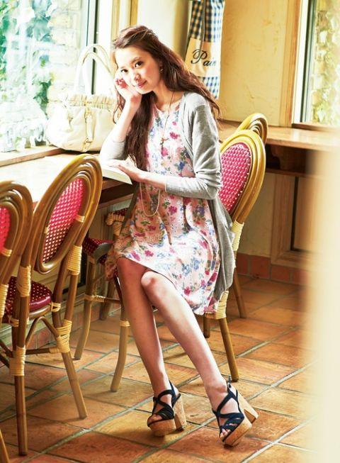 【着まわしday6】ロングカーディガン×花柄ワンピース   ファッション コーディネート   with online on ウーマンエキサイト #long #cardigan #one-piecedress