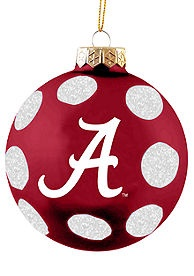 Alabama Crimson Tide 2pk Glass Ornament