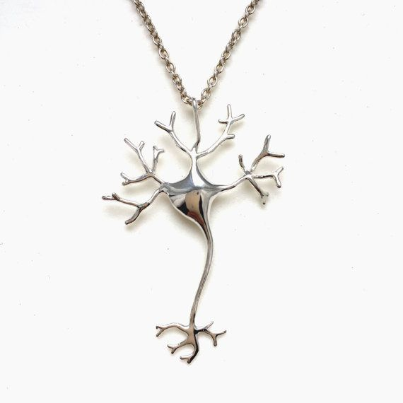 science jewelry: silver neuron necklace - 3D printed neuron pendant - wearable nerve cell - brain cell